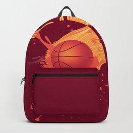Grunge Flaming Basketball Backpack