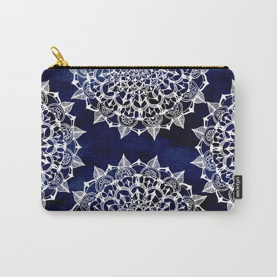 White Lace Medallion on Ink Blue Carry-All Pouch