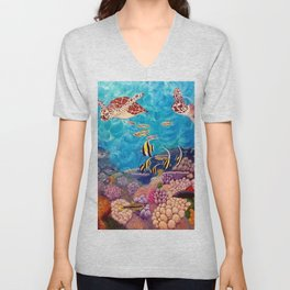 A Good Day for a Swim - Seaturtles in the reef Unisex V-Neck
