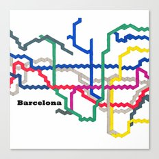 Barcelona Metro Map Square Canvas Print