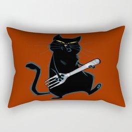 Cat with a fork Rectangular Pillow