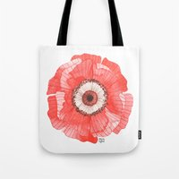 oana befort Tote Bags featuring Red Poppy by Oana Befort