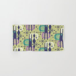 Retro Atomic Mid Century Pattern Blue Green Purple and Turquoise Hand & Bath Towel