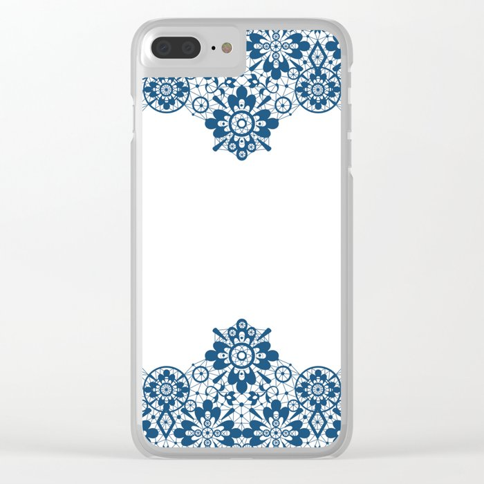 Blue lace on white background . Clear iPhone Case