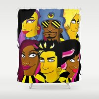 simpsons Shower Curtains featuring WE ARE GLAMILY (the Simpsons version) by ArtEleanor