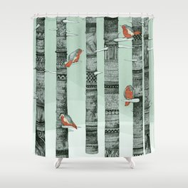 January Birds Shower Curtain