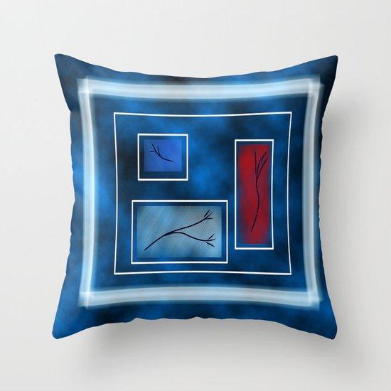 Blue Rectangles  Throw Pillow