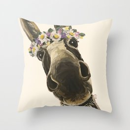 Cute Flower Crown Donkey, Up Close Donkey Art Throw Pillow