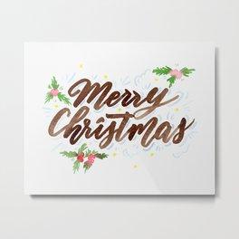 Merry Christmas - Original Watercolor Brush Lettering Metal Print