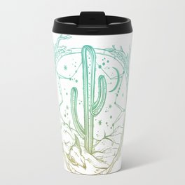 Desert Cactus Dreamcatcher Turquoise Coral Gradient on White Travel Mug