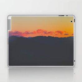 Light Orange Sunset Sky Mountains Landscape Silhouette Laptop & iPad Skin