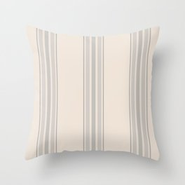 Simple Farmhouse Stripes in Gray on Beige Throw Pillow
