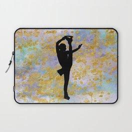 Golden Aspirations Figure Skating Watercolor Graphic Print Laptop Sleeve