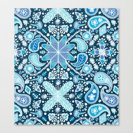 Pysanky Paisley Floral in Blue Canvas Print