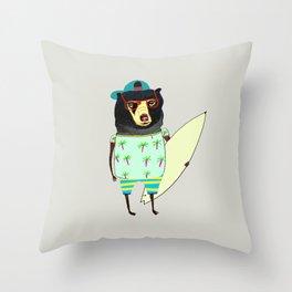 Surfer Bear. surfing art, surf decor, cool, Throw Pillow