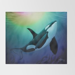 """The Dreamer Ascends"" by artist Amber Marine ~ (Copyright 2015) ~ Orca / Killer Whale Art Throw Blanket"
