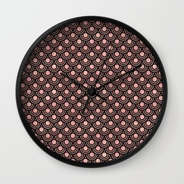 Mermaid Scales in Warm Rose Gold on Black Wall Clock