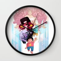 steven universe Wall Clocks featuring Steven by clayscence
