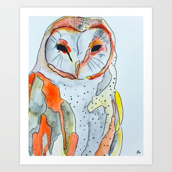 Red Owl  Art Print