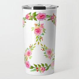 Pink Rose Peace Wreath Travel Mug