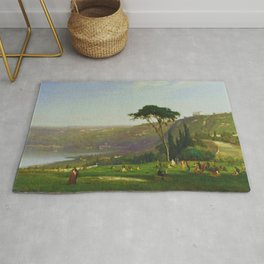 Classical Masterpiece 'Lake Albano, Italy' by George Inness Rug