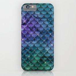 Iridescent Green Blue Purple Mermaid Scales iPhone Case
