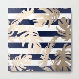 Simply Tropical Palm Leaves on Navy Stripes Metal Print