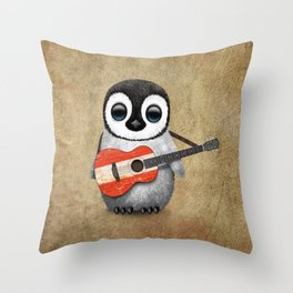 Baby Penguin Playing Austrian Flag Acoustic Guitar Throw Pillow