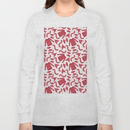 Red white snow flakes Christmas winter fashion pattern Long Sleeve T-shirt