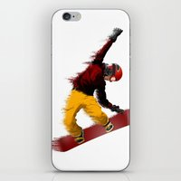 snowboarding iPhone & iPod Skins featuring Snowboarding by Boehm Graphics