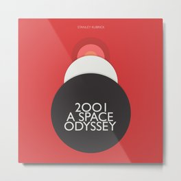 2001 A Space Odyssey - Stanley Kubrick minimalist movie poster, Red Version, fantasy film Metal Print