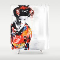 geisha Shower Curtains featuring Geisha by The Lie