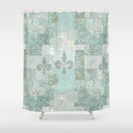 teal baroque vintage patchtwork Shower Curtain