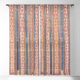 Shahsavan Moghan Caucasian Striped Rug Print Sheer Curtain