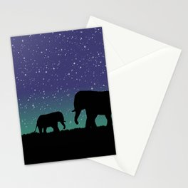 Elephant Silhouettes  Stationery Cards