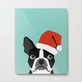 Xmas Boston Terrier Santa Hat funny dog gift for dog lover terrier owner boston terrier cute puppy  Metal Print