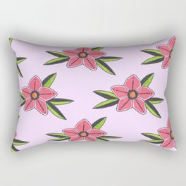Old school tattoo flower pattern in lilac Rectangular Pillow