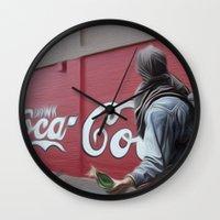coca cola Wall Clocks featuring Coca Cola Wars by Vin Zzep