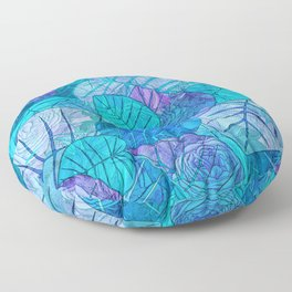 Leaves in Rosy Background 3 Floor Pillow