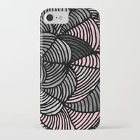 gray pattern iPhone & iPod Cases featuring Abstract Pattern - Gray & Pink by Georgiana Paraschiv