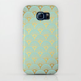 Art Deco Mermaid Scales Pattern on aqua turquoise with Gold foil effect iPhone Case