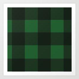 Green and Black Plaid Art Print