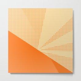 Geometric orange grid collage Metal Print