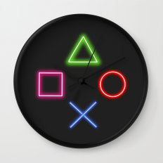 Neon Buttons Wall Clock