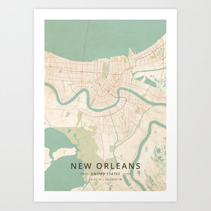 New Orleans In Usa Map.New Orleans United States Vintage Map Art Print By Designermapart