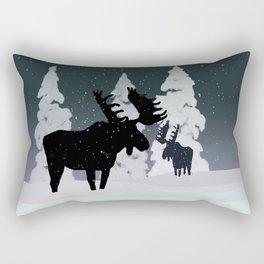 Quiet Moose in Snow Rectangular Pillow