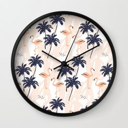 Pink flamingo and palm trees Wall Clock