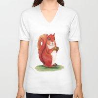 squirrel V-neck T-shirts featuring Squirrel by Yana Elkassova