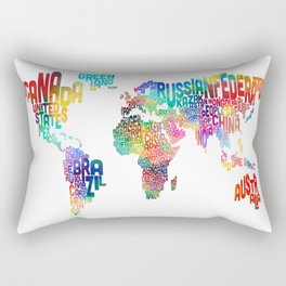Typography Text Map of the World Rectangular Pillow