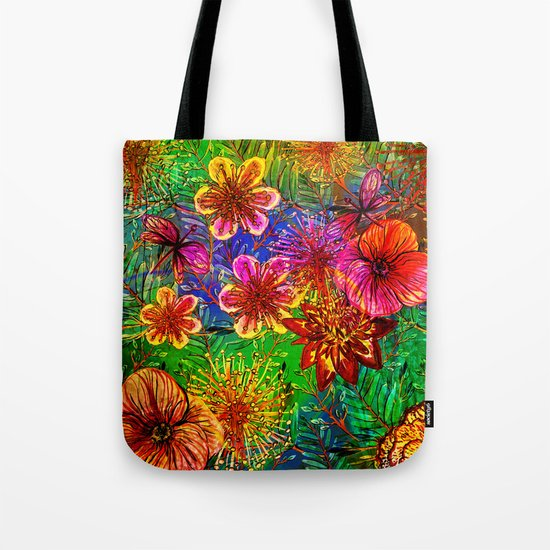 Tropical Heat-Colorful Floral Exotic Tropical Flower Pattern by originalaufnahme